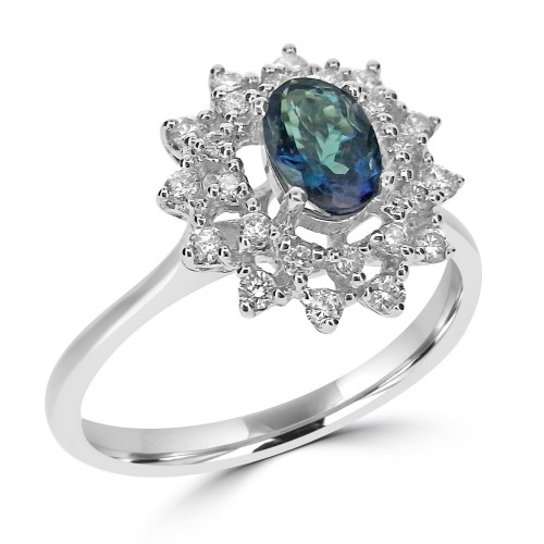 18ct WG Alexandrite Oval w/ RBC Dia Double Cluster Ring