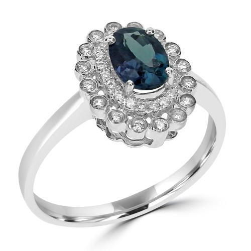18ct WG Alexandrite Oval w/ RBC Dia Halo & Cluster Ring