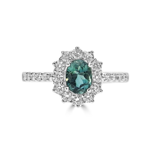18ct WG Alexandrite Oval w/ RBC Dia Cluster & Shoulders Ring