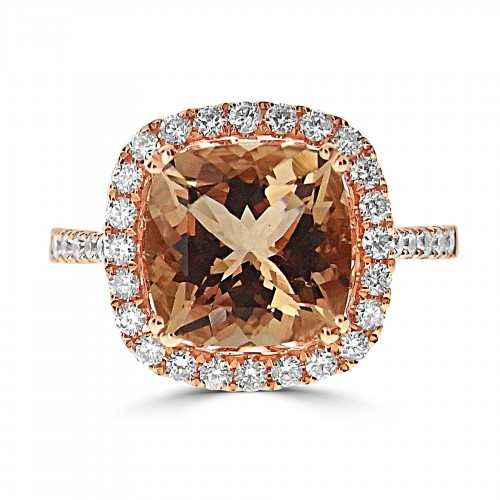 Morganite Cushion With Diamond Halo & Shoulders Ring