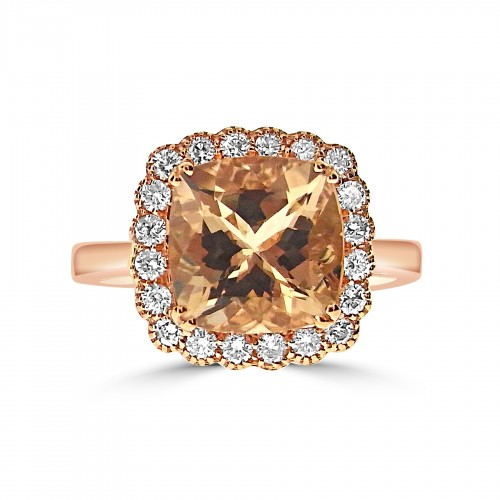 Morganite Cushion 3.70ct With Diamond Scallop Halo & Plain Shoulders Ring