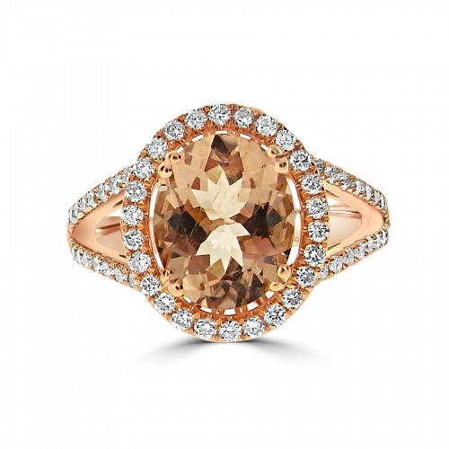 Morganite Oval 2.24ct With Diamond Halo & Split Shoulders Ring