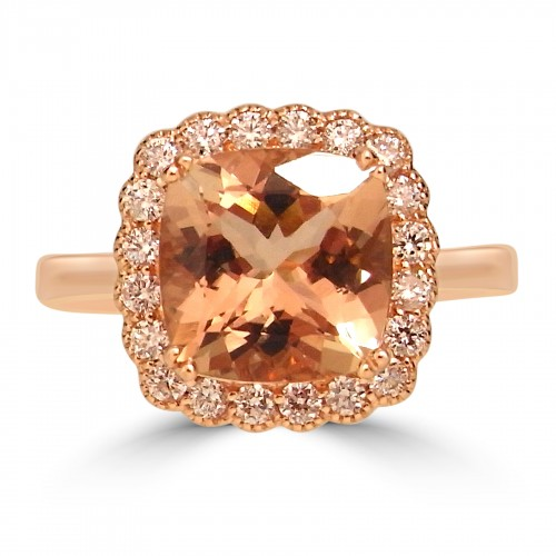 Morganite Cushion 2.92ct With Diamond Scallop Halo & Plain Shoulders Ring