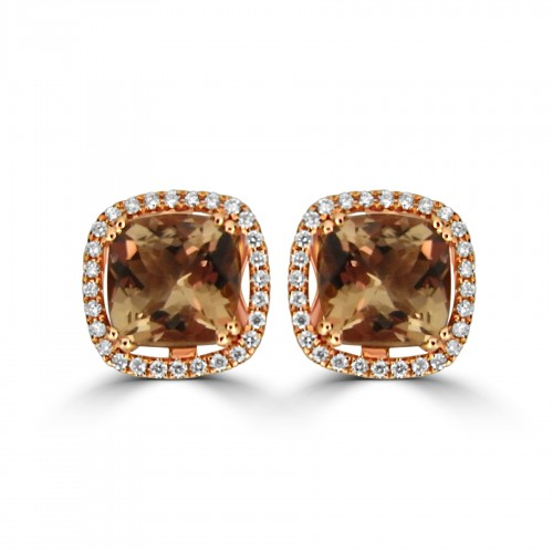 Morganite Cushion Cuts 4.00ct with Diamond Halo Stud Earrings