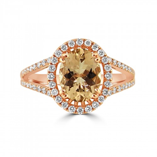 Morganite Oval 1.62ct With Diamond Halo & Split Shoulders Ring