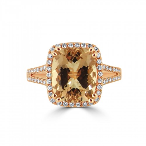 Morganite Long Cushion 4.21ct With Diamond Halo & Split Shoulders Ring