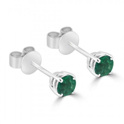 18W 2x Emld Round 0.65ct 4 Claw Stud Earrings