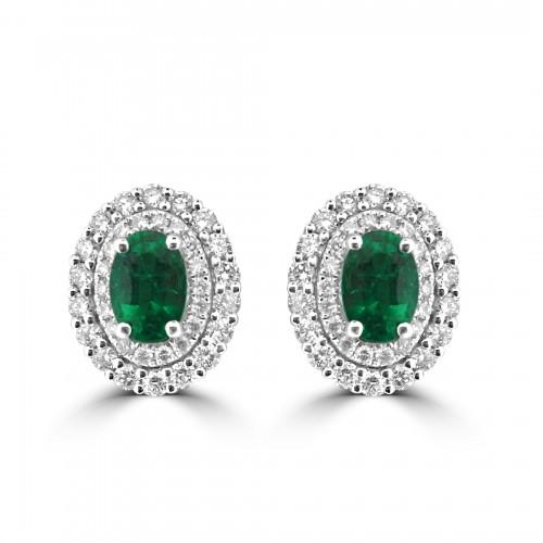 Gemino Emerald Oval & Diamond Double Halo Earrings