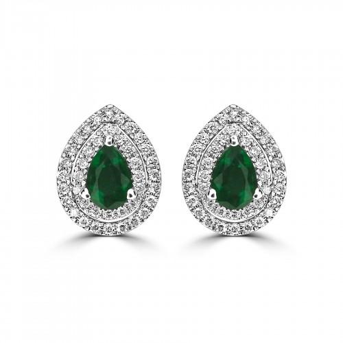 Gemino Emerald Pear & Diamond Double Halo Earrings