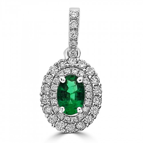 Gemino Emerald Oval & Diamond Double Halo Pendant