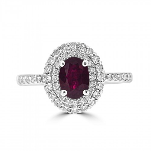 Gemino Ruby Oval 0.96ct with Diamond Double Halo Surround Ring