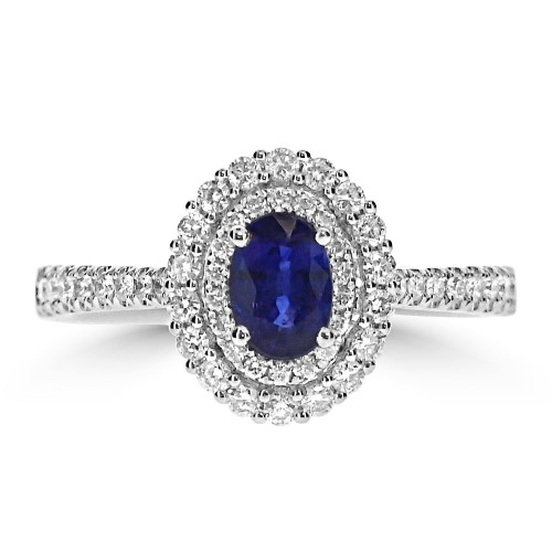 Gemino Sapphire Oval 0.63ct with Diamond Double Halo Surround Ring