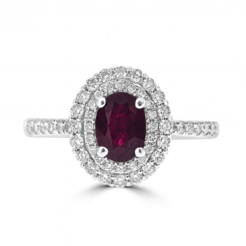 Gemino Ruby Oval 0.60ct with Diamond Double Halo Surround Ring