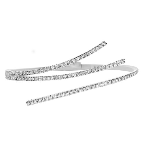 18W Rbc 1.00ct 3 Section PavÚ Top Cross-Over Design Hinged Back Bangle