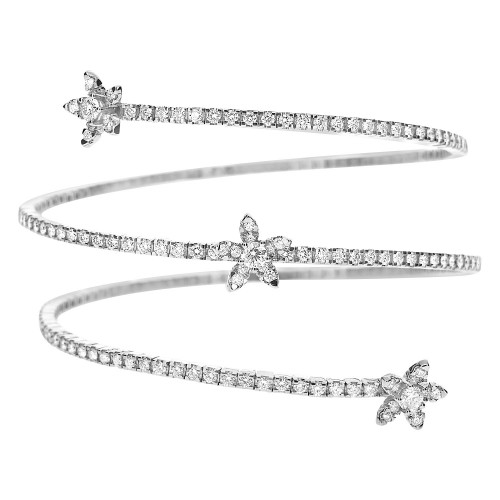 18w Rbc Pavé/Flower Design Spiral Flex Bangle