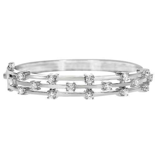 18W Rbc 1.57ct Spaced Heavy 3 X Band Top Round Hinged Bangle
