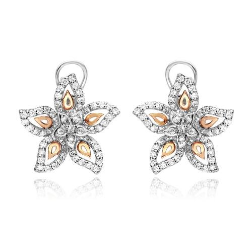 18ct W&Rg Rbc 1.09ct PavÚ Set Star Shape Flower Earrings Omega Clip Back