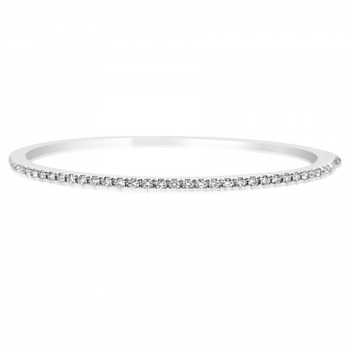 18W Solid Rectangle Section w/ Top PavÚ Rbc Set 0.96ct Hinged Bangle