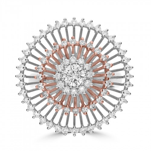 18ct W&Rg Ring With Rbc Centre & 3 X Circle Surround Large Dress Ring