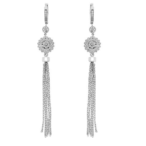 18W 102x RBC 0.62ct Flower Cluster with Chain Tassel Drop Earrings