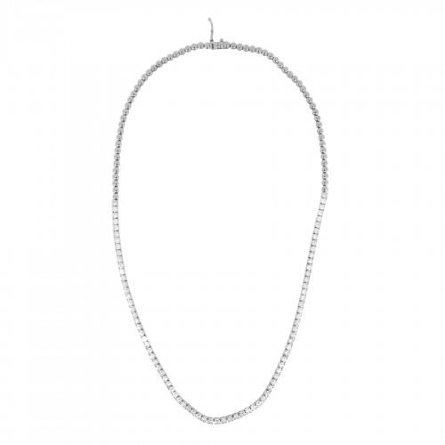 18W RBC 5.05ct  4 Claw Half Bead Set Line Necklace