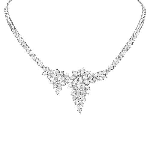 18W Front Section Marq Dia 7.46ct Cluster Half/Half Necklet