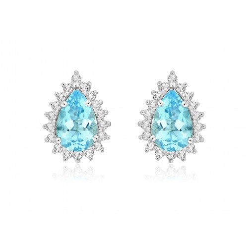 18W AQUA PEAR 2.24ct w/ 18x RBC 0.42ct Cluster Earrings