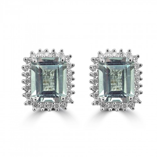 18W AQUA OCT 5.17ct w/ 24x RBC 0.55ct Cluster Earrings
