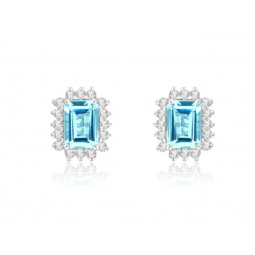 18W AQUA OCT 1.64ct w/ 16x RBC 0.37ct Cluster Earrings
