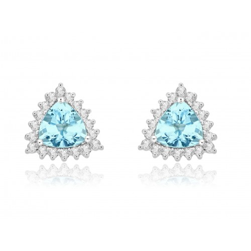 18W AQUA TRIL 2.26ct w/ 18x RBC 0.41ct Cluster Earrings