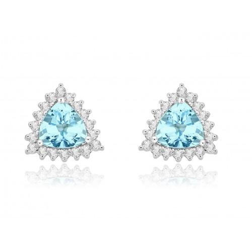 18W AQUA TRIL 2.26ct w/ 18x RBC 0.41ct Cluster Earrings