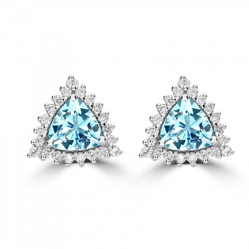 18W AQUA TRIL 2.08ct w/ 21x RBC 0.49ct Cluster Earrings