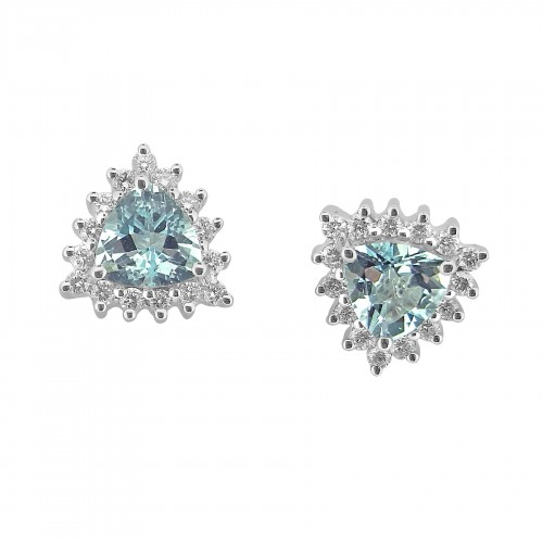 18W AQUA TRIL 1.28ct w/ 15x RBC 0.36ct Cluster Earrings