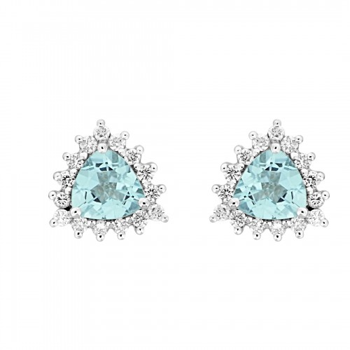 18W AQUA TRIL 1.39ct w/ 15x RBC 0.34ct Cluster Earrings