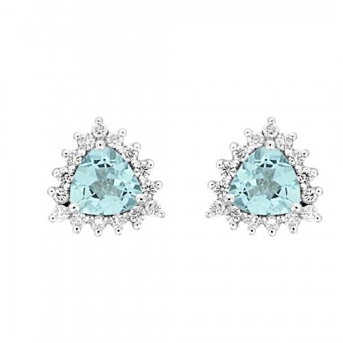 18W AQUA TRIL 1.39ct w/ 15x RBC 0.34ct Cluster Earrings