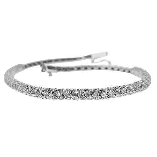 18W 235x RBC 2.28ct Snake Link Pavé Half Set Bracelet