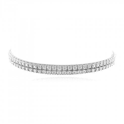 18W 160x RBC 3.82ct 2 Row 4 Claw Line Bracelet
