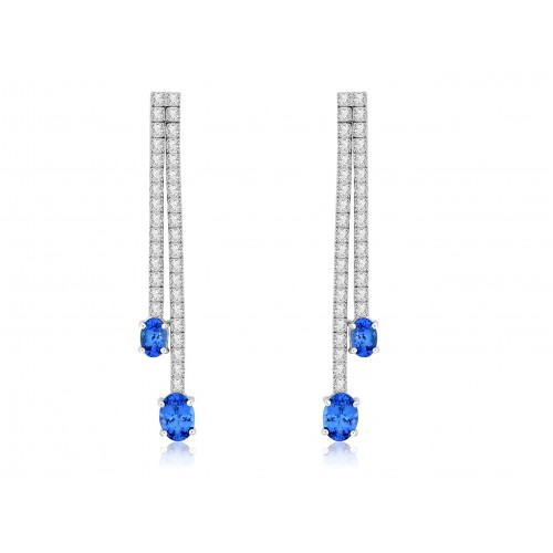 18w 2xrow Rbc With Oval Tz Ends Drop Earring