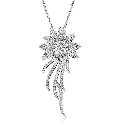 18w Fancy Fully Pavé Flower With Bar Drops Pend