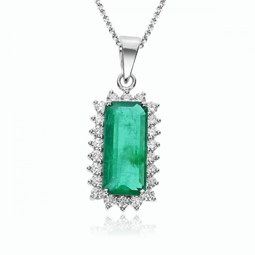 18W 1x Baguette Emld 3.85ct w/ 22x Rbc 0.54ct Cluster Around Stone Pendant With Bail