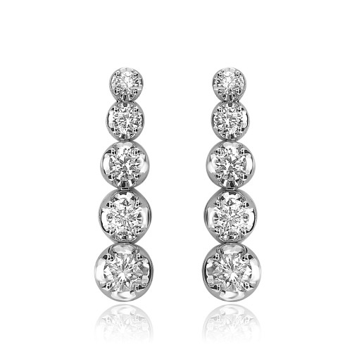 18W 10x RBC 1.77ct Crown Set Drop Earrings