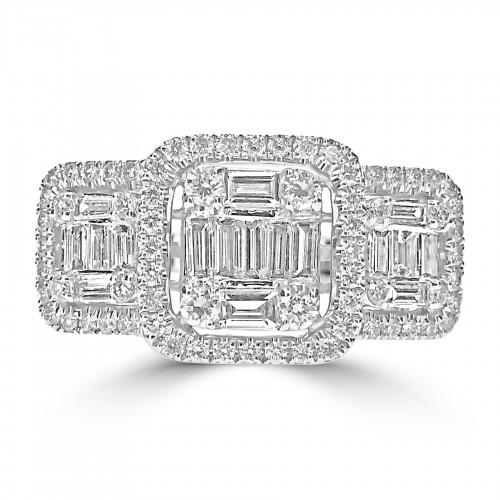 Octavia Halo 3 Stone Style Ring