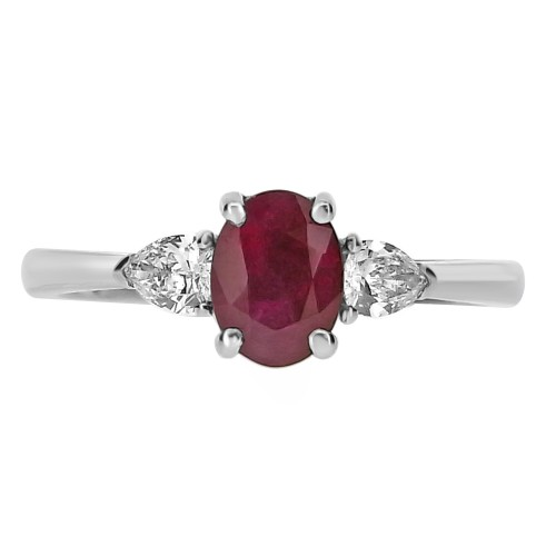 Ruby Oval with Diamond Pears 3 Stone Ring