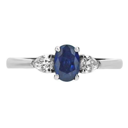 Sapphire Oval with Diamond Pears 3 Stone Ring