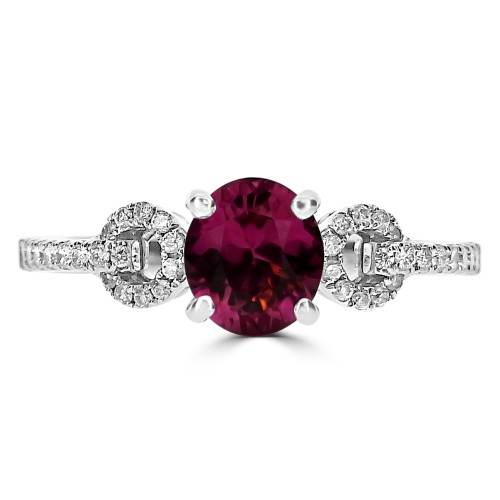 Red Spinel Oval with Diamond Looped Fancy Shoulders Ring