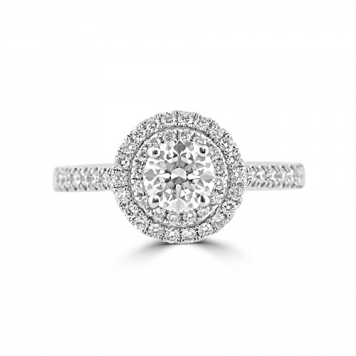 Diamond Double Halo & Shoulder Round 0.70ct Centre Ring