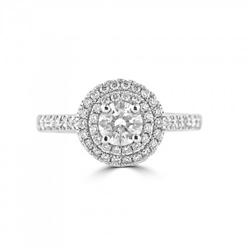 Diamond Double Halo & Shoulder Round 0.50ct Centre Ring