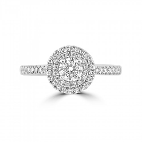 Diamond Double Halo & Shoulder Round 0.35ct Centre Ring