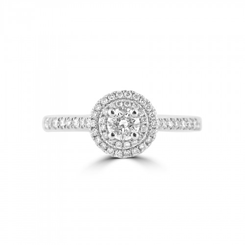 Diamond Double Halo & Shoulder Round 0.24ct Centre Ring