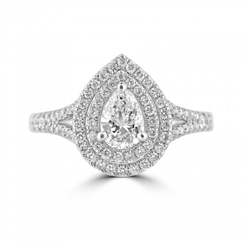 Diamond Double Halo & Shoulder Pear 0.51ct Centre Ring